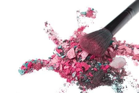 crushed eyeshadows mixed with brush isolated on white background Stock Photo - 13815250