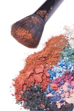 crushed eyeshadows with brush isolated on white background Stock Photo - 13815287