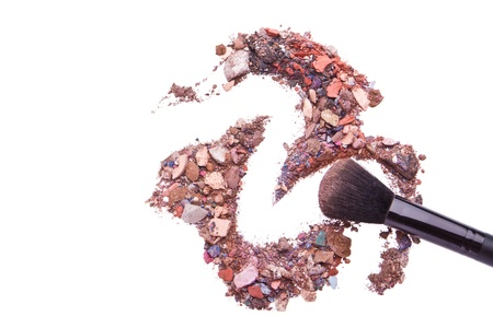 crushed eyeshadows mixed with brush isolated on white background Stock Photo - 13970583