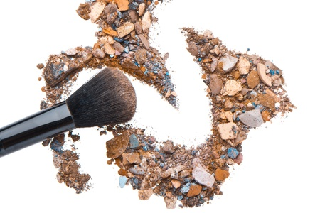 crushed eyeshadows mixed with brush isolated on white background Stock Photo - 14094668
