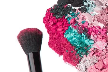 crushed eyeshadows with brush isolated on white background Stock Photo - 14400668