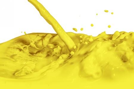 yellow paint splashing isolated on white photo