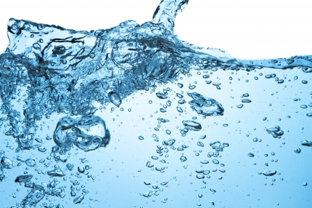 Plan rapproché de bulles dans l'eau bleue Banque d'images