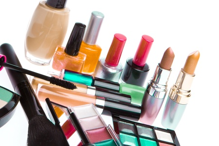 set of makeup products isolated on white background photo