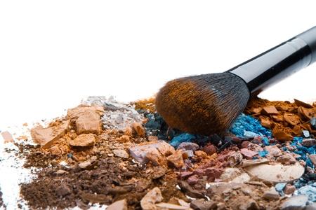 crushed eyeshadows with brush isolated on white background Stock Photo - 14845980