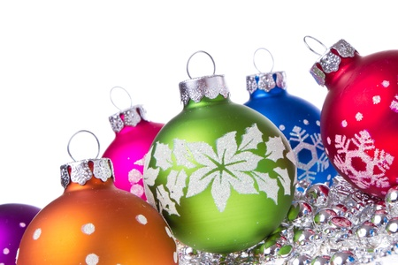 christmas balls with tinsel isolated on white background Stock Photo - 14845973