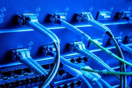 fibre optique: c�bles � fibre optique connect�s au centre de donn�es