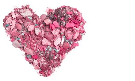eyemakeup: heart shaped crushed eyeshadows isolated on white background Stock Photo
