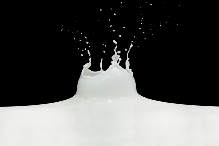 splashing milk isolated on black background