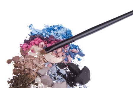 set of multicolor crushed eyeshadows isolated on white background photo