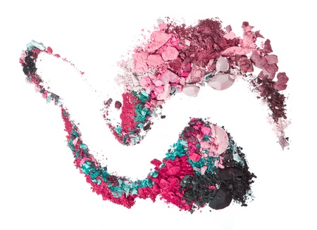 crushed eyeshadows mixed with brush isolated on white background Stock Photo - 15595979