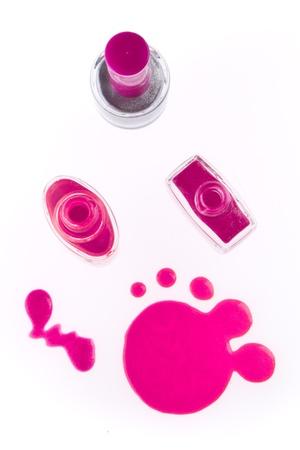 perfumery concept: nail polish set isolated on white background
