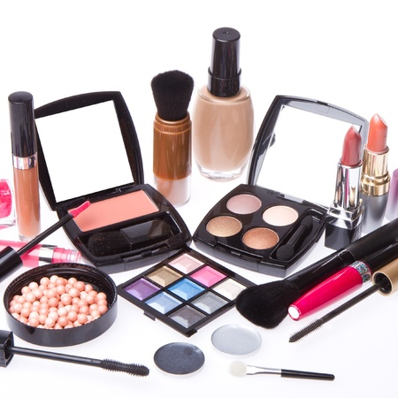 cosmetics collection: makeup set isolated on white background Stock Photo