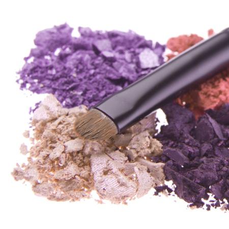 eyeshadows with brush isolated on white background Stock Photo - 15804282