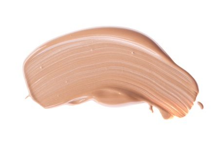 smudge: smudged liquid foundation isolated on white Stock Photo