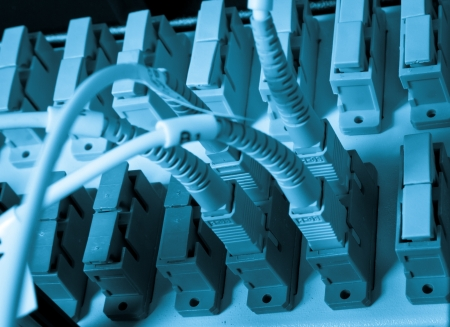 optic fiber hub as part of internet infrastructure Stock Photo
