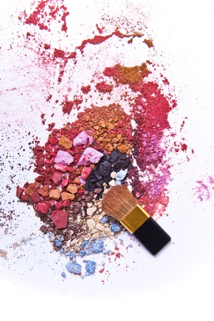 eyeshadow mix with brush on white background Stock Photo - 16470929