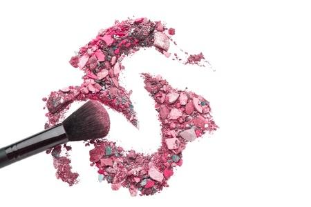 crushed eyeshadows mixed with brush isolated on white background Stock Photo - 16470859