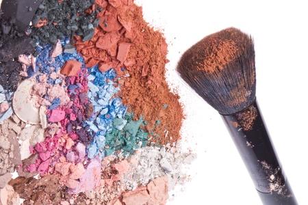 crushed eyeshadows with brush isolated on white background Stock Photo - 16575541