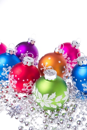 christmas balls with tinsel isolated on white background Stock Photo - 16651742