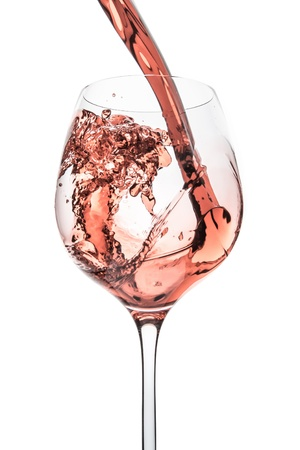 rose wine splashing on white background Stock Photo