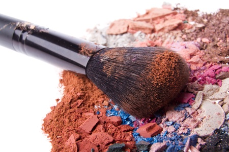 set of multicolor crushed eyeshadows with brush Stock Photo - 16651923