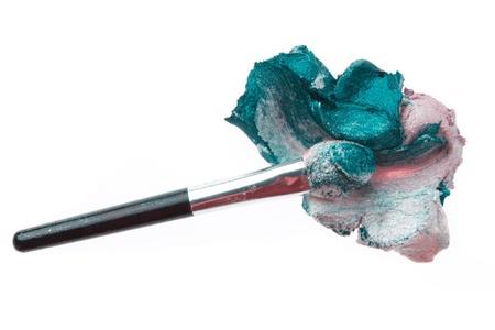cream eyeshadow with brush isolated on white background Stock Photo - 16651632