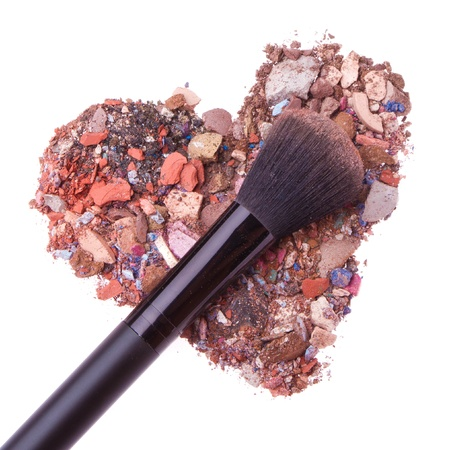 heart shaped crushed eyeshadows with brush Stock Photo - 16651864