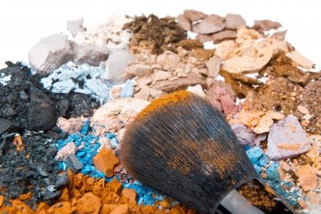 set of multicolor crushed eyeshadows with brush Stock Photo - 16872176
