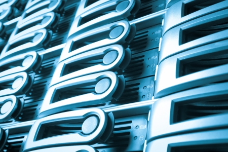nas: detail of data center with hard drives