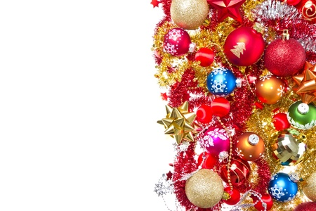 background made of christmas balls and tinsel Stock Photo - 17101580