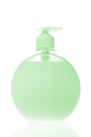 green cosmetic bottle isolated on white background Stock Photo - 17100748