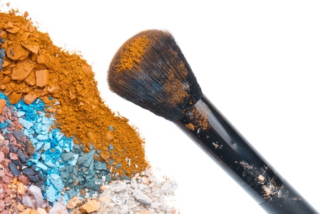 crushed eyeshadows with brush isolated on white background Stock Photo - 17413963