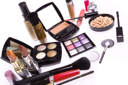 makeup set isolated on white background photo