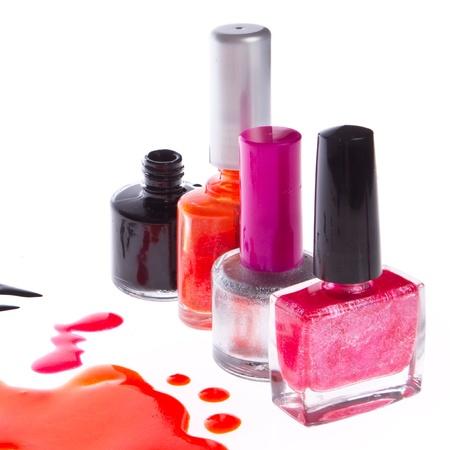 nail polish set isolated on white background photo