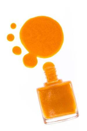 perfumery concept: spilled nail polish on white background Stock Photo