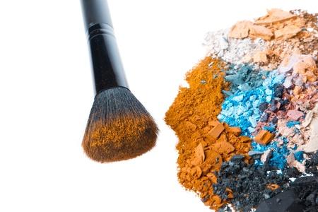 crushed eyeshadows with brush isolated on white background Stock Photo - 17918989