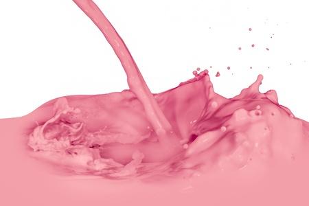 strawberry milk splash isolated on white background photo