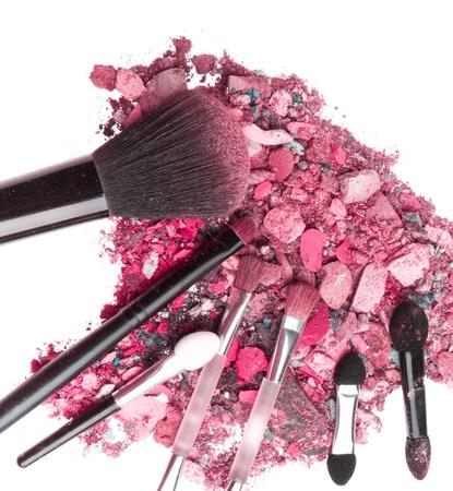 crushed eyeshadows with set of brushes isolated on white background Stock Photo - 18178427