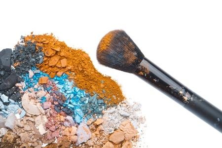 crushed eyeshadows with brush isolated on white background Stock Photo - 18701789