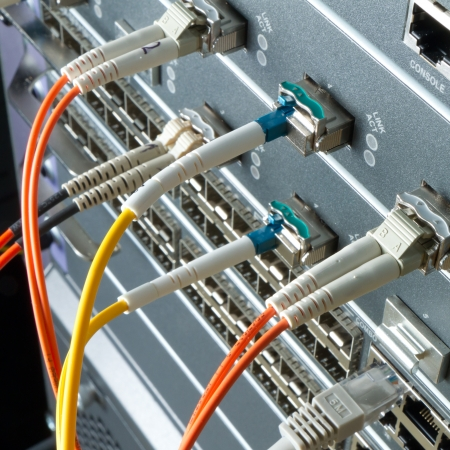 data link: optic fiber cables connected to data center
