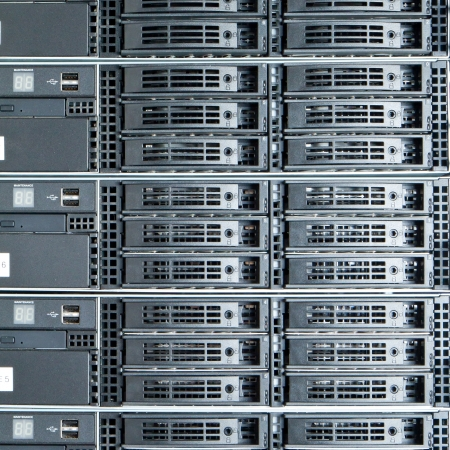 computer hardware: Data center with hard drives