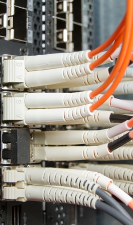 optic fiber cables connected to data center photo