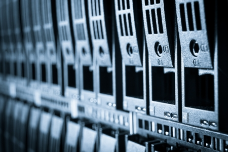 byte: close-up of hard drives in data center Stock Photo