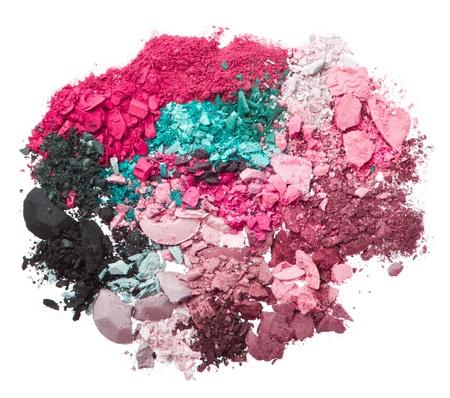 multicolor crushed eyeshadows isolated on white background Stock Photo - 19866610