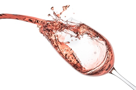 rose wine splashing on white background 版權商用圖片