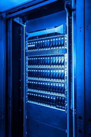 close-up of hard drives in data center Stock Photo