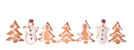 ginger snowmen and tree isolated on white background Stock Photo - 20330577