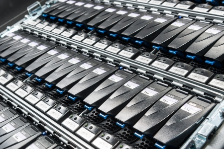 nas: close-up of hard drives in data center Stock Photo