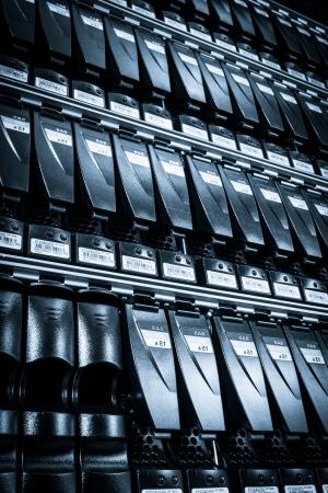 nas: hard drives in data center Stock Photo